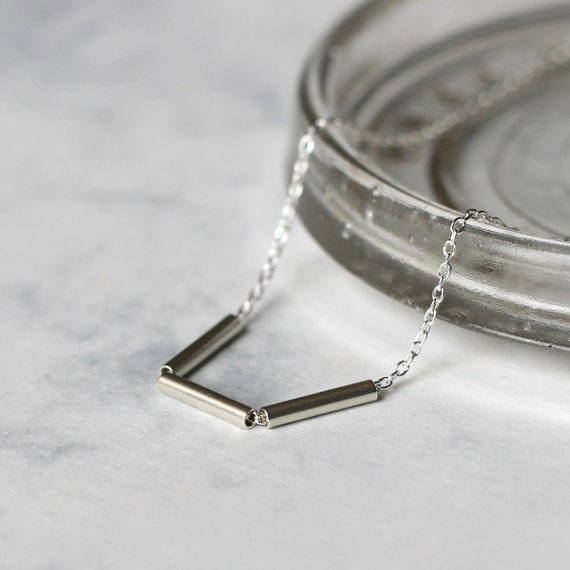 Triple Bar Layering Necklace - Sterling Silver