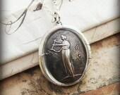 Greek Mythology Jewelry - Muse of Music Wax Seal Necklace - Greek Goddess Euterpe - E2325