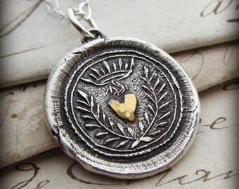 Flaming Heart Wax Seal Necklace - wax seal jewelry in fine silver and 22kt gold- Eternal Love - E2270