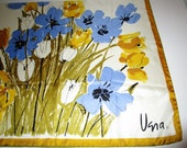 Vera Scarf - Floral Print - Goldenrod Yellow and Periwinkle - 100% Silk - Made in Italy - From Gold Piece Collection