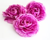 set of 3 Ranunculus in Mulberry - Silk Artificial Flowers - read description - ITEM 0440