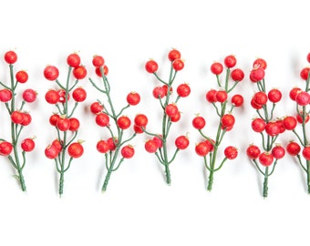 12 Berry Sprays in Red - Floral Crown Supplies - Artificial Berries - ITEM 0459