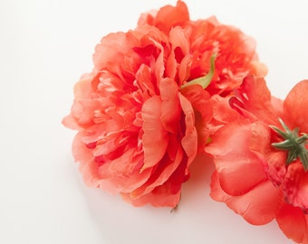 Two Medium Bright Coral Peonies - 4 Inches - Silk flower - Artificial Flower - ITEM 091