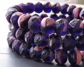 Amethyst Pink Sea Glass Mix Czech Glass Bead Faceted 8x6mm Rondelle : 10 pc Matte Beach Glass Bead Mix