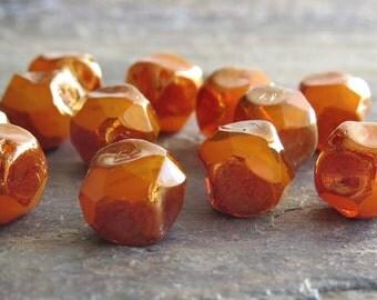 Tangerine Bronze Czech Glass Bead 9mm Baroque :  12 pc Orange Central Cut Czech Beads