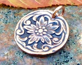 Copper Single Flower Pendant, Fancy Border, Western Style, Rustic Jewelry, Focal Pendant