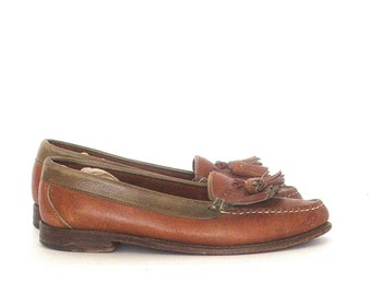 Womens Cole Haan  Loafers Tan Leather Tassel Kilt Moccasin SZ 6.5