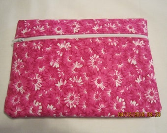 "8"" Cosmetic Bag / Make Up Bag / Pencil Pouch - Sunshine Floral {Bright Pink}*"
