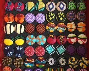 HOLIDAY SALES-(i pick choices) 3 pairs Medium Ankara Button Earrings