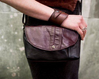 Small Merlot and Black RECLAIMED Leather Purse