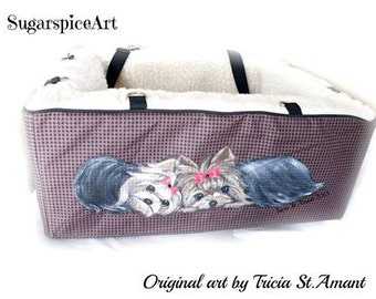 Custom Hand Painted Pet Gear Carseat Booster by SugarspiceArt