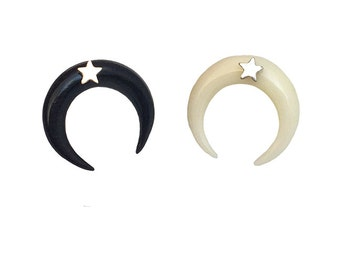 Crescent Moon Earrings       star tusk horn gold silver stud post