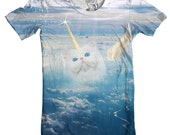 Caticorn Men's Crew Neck, Cat Unicorn Tee, Cats, Majestic T-Shirt, Magical, Clouds, Funny Animal Shirt, Sizes S-2XL
