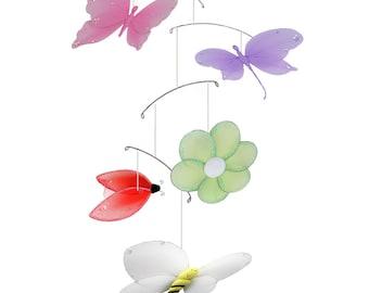 Butterfly Mobile Bee Flower Dragonfly Ladybug Baby Mobile, Ceiling Mobile, Hanging Butterfly, Crib Mobile, Baby Room Decor, Nursery, Jewel