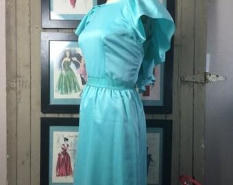 Fall sale 1970s dress prom dress aqua dress evening gown size large vintage dress bridesmaid dress backless gown