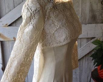 Fall sale 1960s dress crochet dress lace topper 60s dress mod dress open front dress topper size small Vintage dress ivory blouse wedding dr