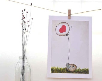 red heart nursery, love art, whimsical desk accessories, gift for her, gift for him, ikea frame, love balloon, bedroom wall decor, beilexian