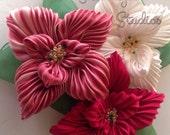 Shibori Ribbon Poinsettia Brooch Kit