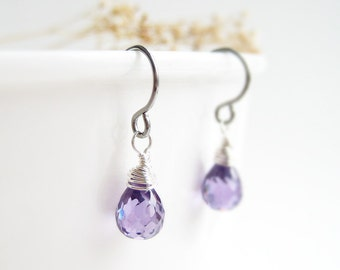 Purple Drop Earrings - February birthstone, small teardrop cubic zirconia earrings available in silver, gold, bronze, girlfriend jewelry