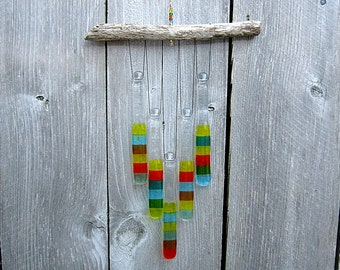 Multicolor Wind Chime, Glass Windchime, Glass Chimes, Southwestern Chime
