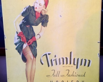 TRIMLYM Vintage Stockings with ELVGREN Pin-Up Full Fashioned Nylon Stockings pinup Art Deco Vintage New with rare Box WWII 1940's!