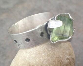 Mothers Day Sale - Raw Tourmaline Crystal Sterling Silver Ring - bold ring, crystal ring, tourmaline ring, tourmaline jewelry, US Size 6.5