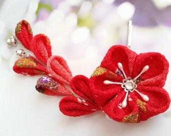 Kanzashi Red Gold Mini Bells Cherry Blossom Kimono Japanese Chirimen Fabric Flower Hair Clip Wedding Festival