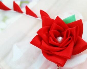 Red Rose Silk Kanzashi Flower Hair Clip