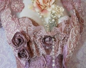 Valentines Sale lavender  beaded shrug Dusty mauve lilac lace bolero victoriana custom wedding  roses  handmade by vintage opulence on Etsy