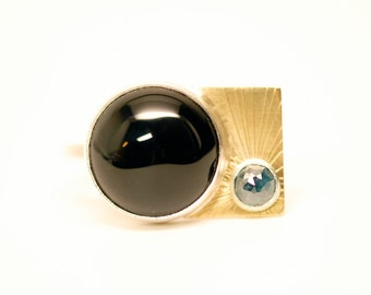onyx and diamond sky ring - 18k gold and natural blue diamond - Art Deco inspired ring - diamond and onyx gold ring