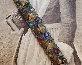 Antique Bar Pin Large Brass Bezel Set Colored Glass Stones