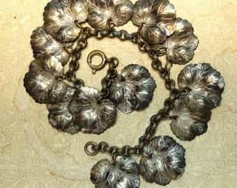 Vintage Metal Leaf Bracelet Charms 1930s