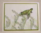Sea Turtle Greeting Card - Hand Stamped Green Turtle Card - Turtle Swimming in Sea Kelp - Ocean Animal Card - All Ocassion