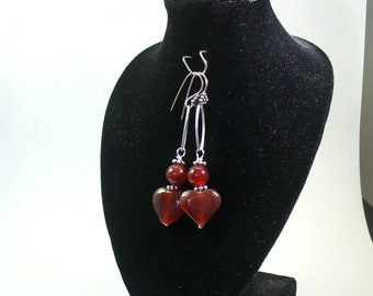 Carnelian Earrings - Heart Earrings - Fall Jewelry - Long Earrings - E2015-03