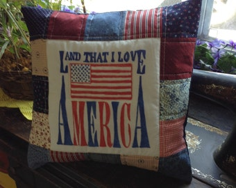 Patriotic pillow cover America land that i love in red white and blue 14 inch
