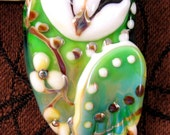 Reserved for bmatt - NEW Lampwork Owl Focal Bead by Kerribeads