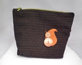 Squirrel Zipper Pouch - Squirrel Coin Purse - Brown Zippered Pouch - Squirrel Purse - Squirrel Pouch - Brown Make-up Bag