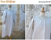 SUMMER SALES Vintage 1900 /1910 French Edwardian  pure linen shirt / nightgown  size  L/Xl