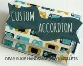 Custom Vinyl Accordion Wallet, zipper wallet, custom wallet, coin purse, cute wallet, unique, card holder, snap wallet, gift