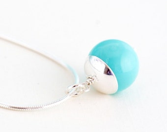 Aqua Necklace, Sterling Silver Necklace, Tiffany Blue Necklace, Pendant Necklace, Simple Pendant, Turquoise Blue, Girlfriend Gift