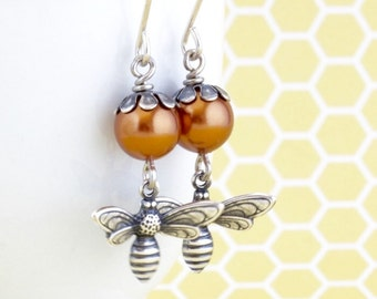 Pearl Honey Bee Earrings - Bronze Pearl Earrings - Bumble Bee - Nature Jewelry - Dangle Earrings - Silver Earrings - Gift For Woman
