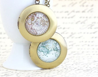 World Map Locket Necklace - Wanderlust Locket - Brass Locket - Vintage Map Locket - Gift Explorer - Map Necklace - Traveler Gift