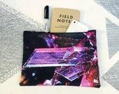 Purple Crystal Zipper Pouch Make Up Bag Jewelry Bag