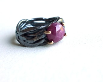 Chunky Oxidized Sterling Nest Ring with Natural Ruby Rose Cut Cabochon in Gold Prongs - Black and Red Bramble Ring