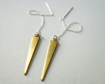 Spike Ear Threads in Sterling Silver and Brass