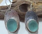 Aqua Sea Glass Bezel Earrings Sea Glass Jewelry E-137