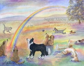 Rainbow Bridge dog 5x7 8x10 11x14 art print sheepdog sorry for your loss condolences in sympathy from watercolour painting by Susan Alison