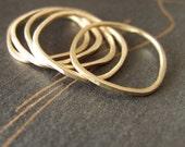 14k Gold Stacking Rings solid 14 karat gold ring thin band modern organic wedding ring