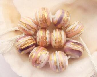 RESERVED - 10 Golden Striped Handmade Lampwork Beads