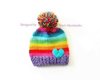 Chunky Knit Purple start Rainbow with Heart Pom Pom Hat, baby hat, baby, pom pom, rainbow, kids hats, girls clothing, girls accessories